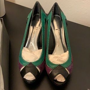 Shoes - Vince Camuto snake leather peep toe heels